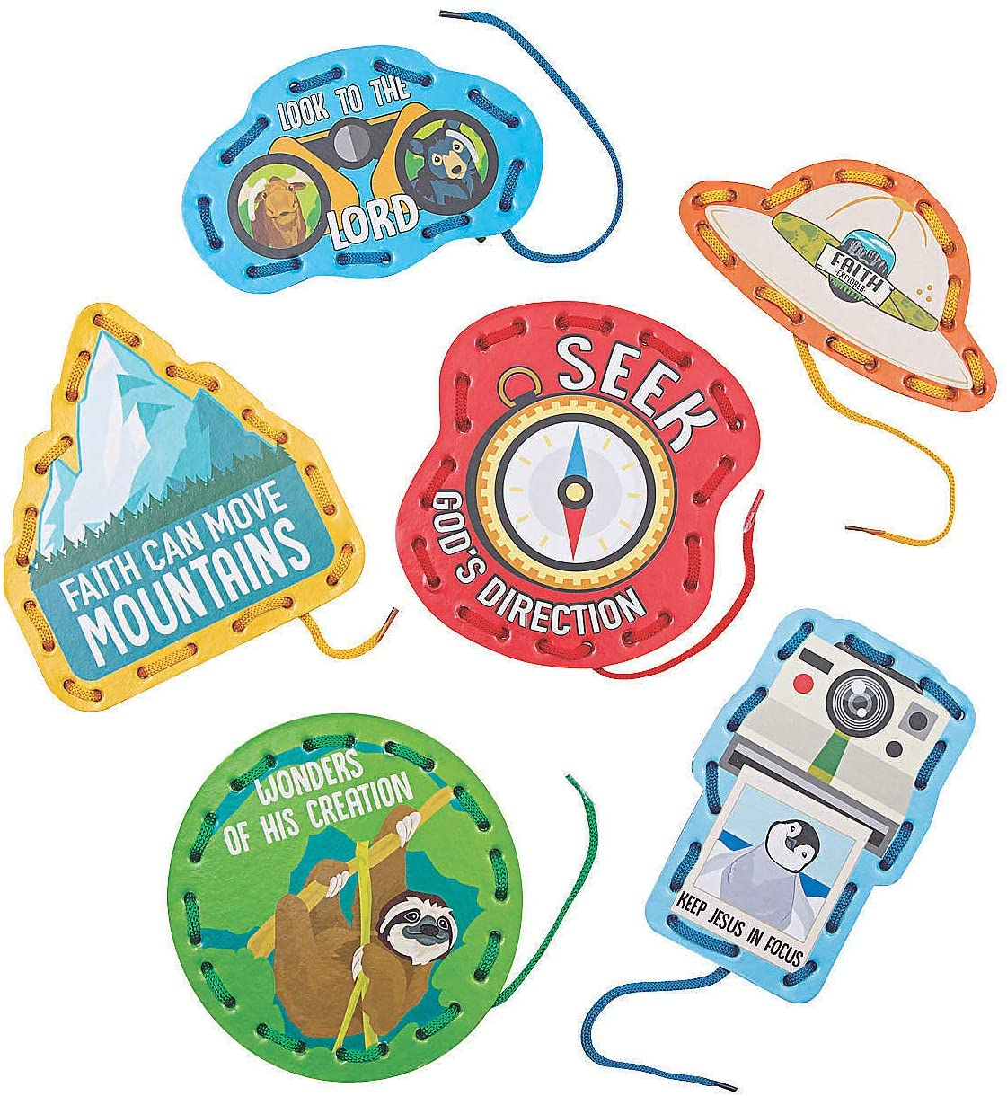 Fun Express Wild Encounters Vbs Lacing Cards - 24 Pieces - Educational and Learning Activities for Kids