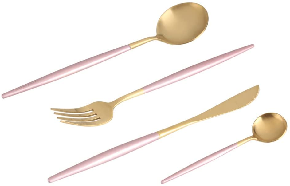 Stainless Tableware Set. 4Pcs/Set Flatware Cutlery Set inclueding 2Pcs Spoon Fork Knife for home Use/Restaurant/Christmas Gift etc(pink+gold)