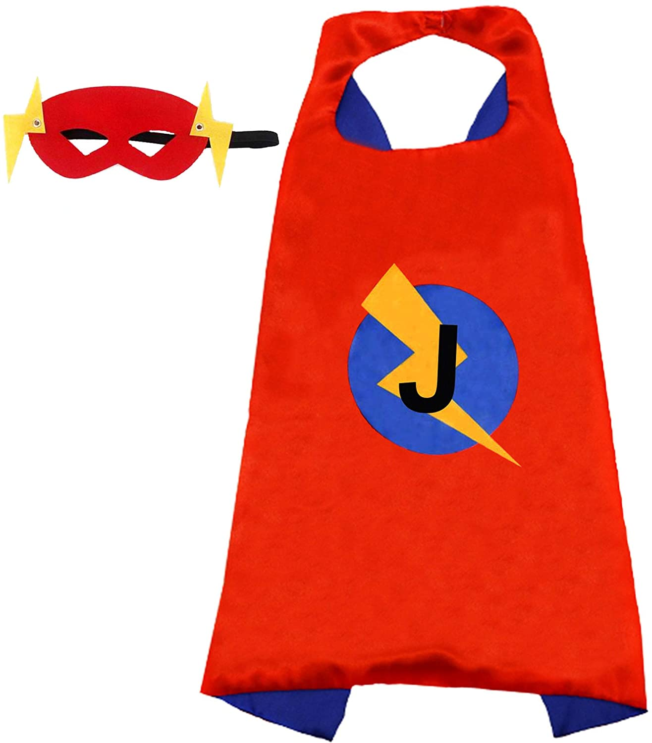 Initial Letter Name Superhero Cape and Mask for Kids/Adult Halloween Dress Up Costume Super-Hero Birthday Capes
