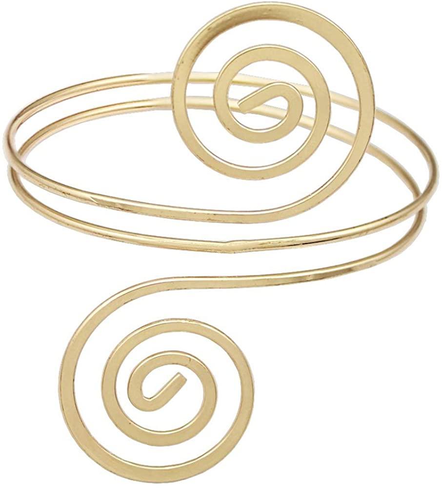 ALoveSoul Adjustable Gold Upper Arm Jewelry Cuff Bracelet Armlet Armband Bangle