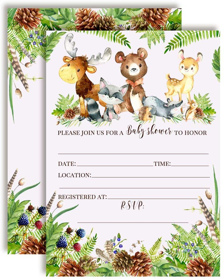 Watercolor Woodland Forest Animals Baby Sprinkle Baby Shower Invitations, 20 5
