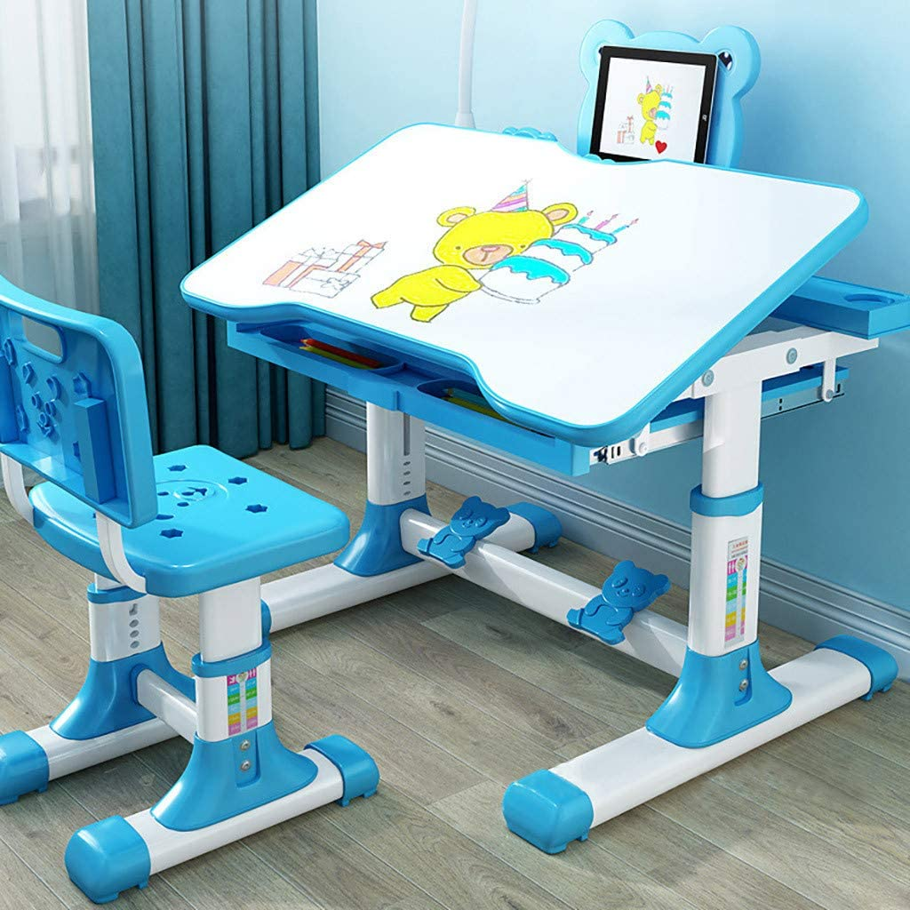 Kids Desk and Chair Set, Height Adjustable Kids Table and Chair Set, Home School Use Anti-Reflective Children Study Table with LED Light/Reading Board/Pull-Out Drawer (80 x 50cm, Tiltable Blue)