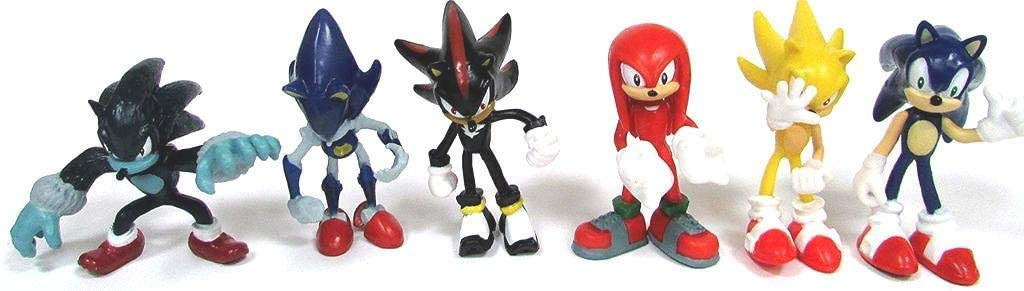 Sonic the Hedgehog Action Figures – 6-Pack Collectible Figures with Sonic Brooch– Highly Detailed Design – For Kids and Collectors– Includes Sonic, Shadow, Werehog, Metal Sonic, Knuckles & Super Sonic