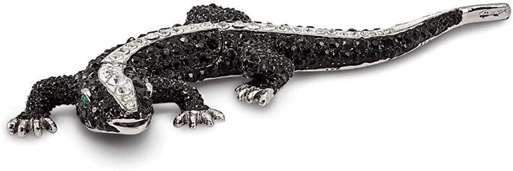 Bejeweled Tuxedo Lizard Ladybug Trinket Box