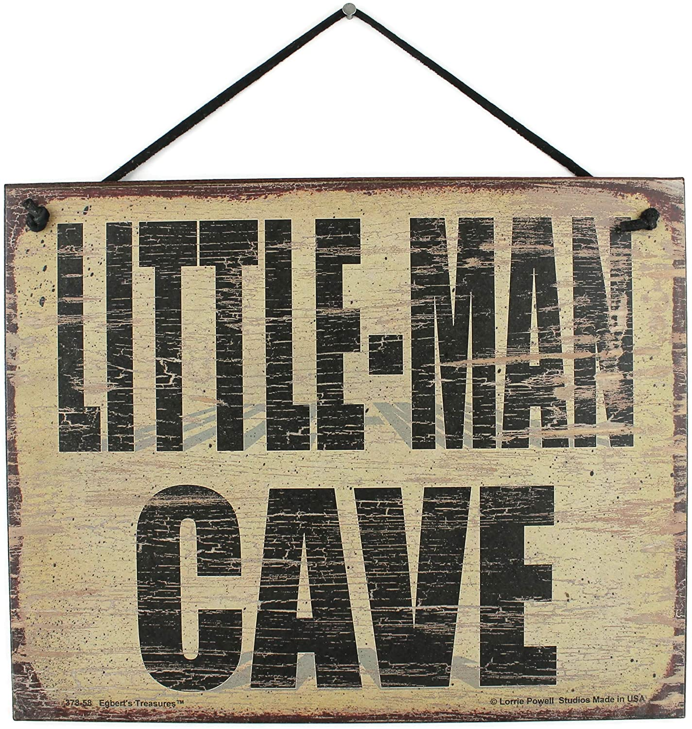 Egbert's Treasures 8x10 Vintage Style Sign Saying, Little-Man CAVE Decorative Fun Universal Household Sign for Boys, Kids, Children's Bedrooms (8x10)