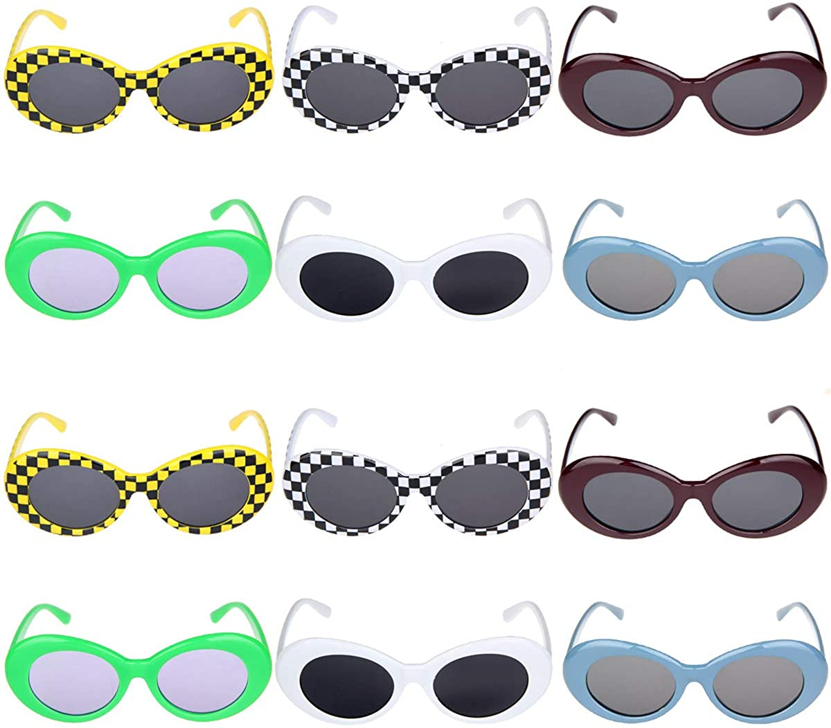 12pcs Set Funny Glasses Novelty Party Costume Eyewear Hawaiian Luau Tropical Sunglasses for Kids & Adults