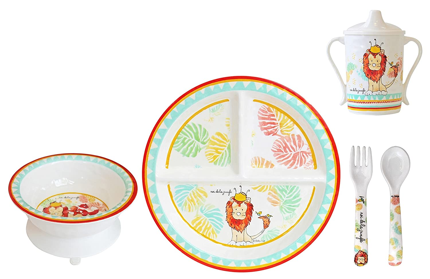 Baby Cie Melamine Plate, Sippy Cup, Bowl, Fork & Spoon, 5 Piece Set - King of The Jungle