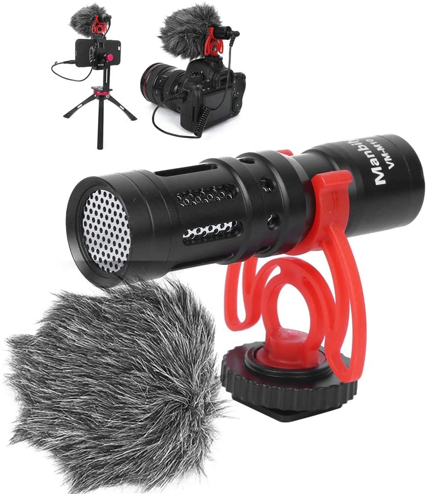 Bindpo 3.5mm Condenser Microphone, Professional Recording/Interview/Vlogging Microphone for Mobile Phone for Canon for Nikon for Sony DSLR Camera