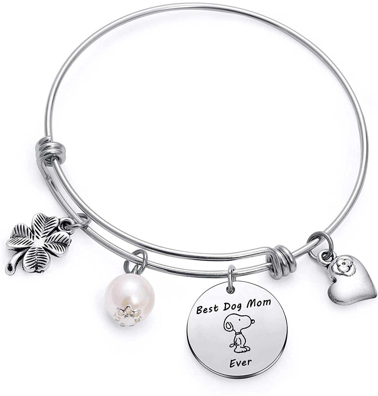 TzrNhm Blossom Best Dog Mom Ever Bangle Bracelet for Women Girls Dog Lover Keychain Gifts