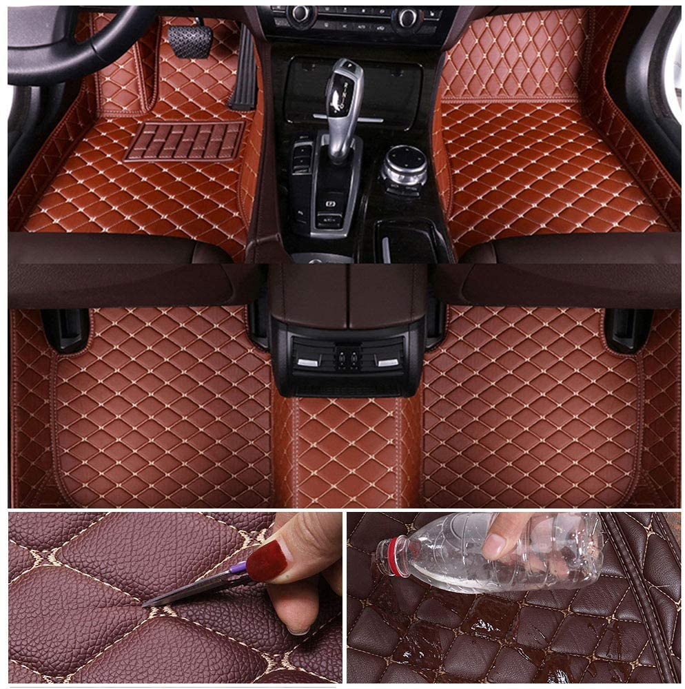 Custom Car Floor Mats for Chevrolet Camaro SS 2010-2015 Leather Custom Fit All-Weather Protection Floor Liners Waterproof Foot Pad Carpets Brown