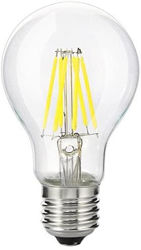 Bulbright Vintage LED Filament Bulb A19-6W LED Light Bulb, Medium Screw E26 Base, Cool White 6000K, LED Edison Bulb 60W Equivalent, 110-120V AC, Dimmable (Cool White)