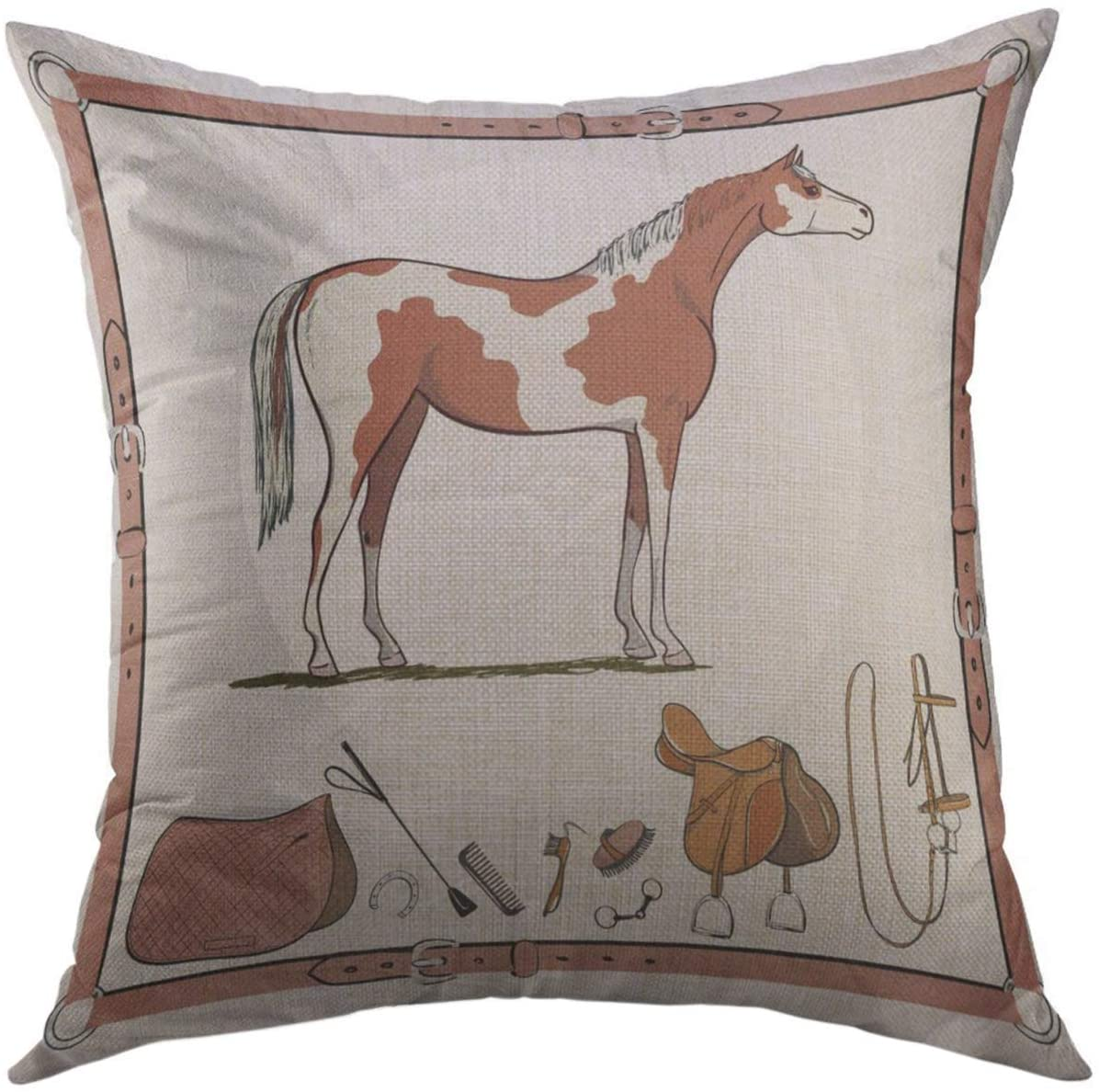 Mugod Decorative Throw Pillow Cover for Couch Sofa,Horse Riding Tack Tools in Leather Belt Bridle Saddle Stirrup Brush Bit Harness Whip Equine Buckle Home Decor Pillow Case 18x18 inch
