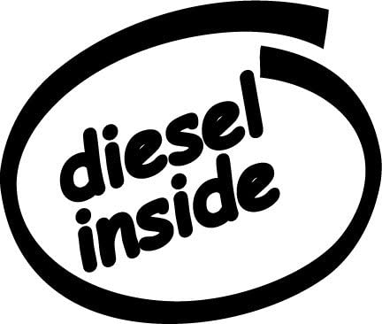 Diesel Inside, Vinyl Car Decal, White, 5-by-5 inches