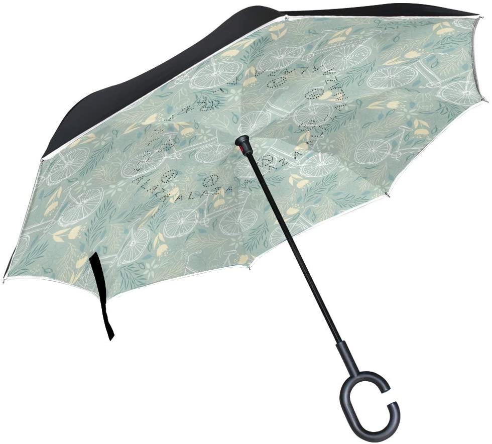 Senuu Daisy Bike Bicycle Inverted Umbrella for Car Travel Windproof Reversible Umbrella with C-Shape Handle for Men Women