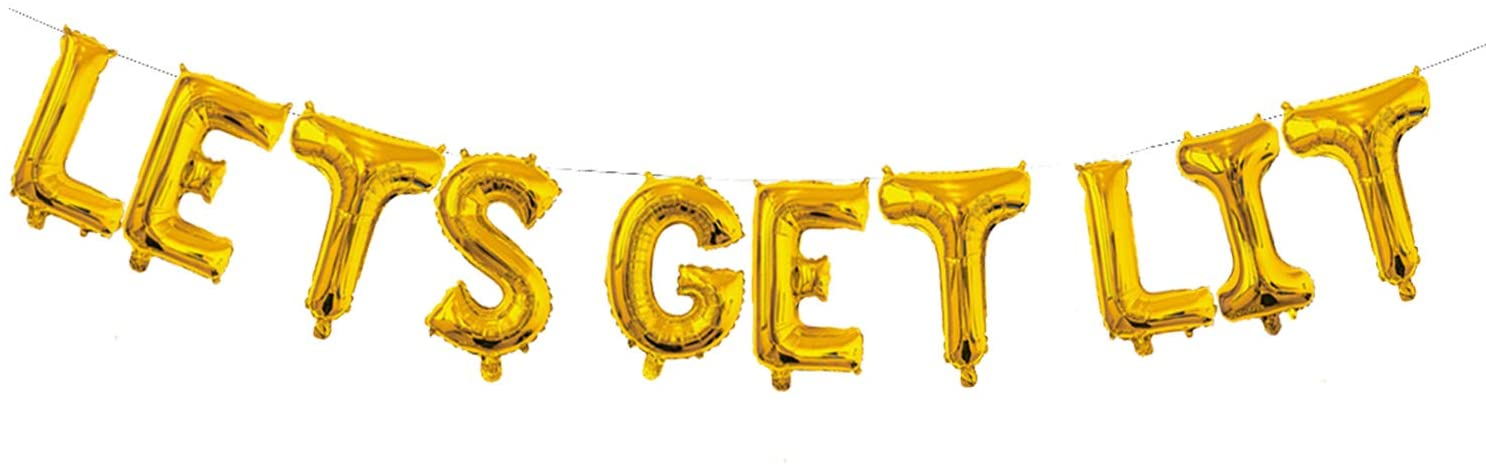 Let's Get Lit Balloon, Let's Get Lit Gold Party Supplies Christmas New Years Wedding Engagement Bachelorete Party Decorations (16 inch)