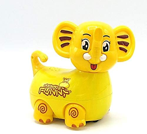 Dazzling Toys Electric Self Walking Toy Elephant with Bump and Go Action, Flashing Lights & Music - Bright Yellow