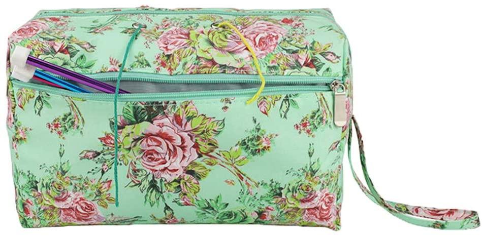 gotor Yarn Storage Bag, Travel Knitting Storage Organizer for Yarn Skeins, Crochet Hooks, Knitting Needles, Green