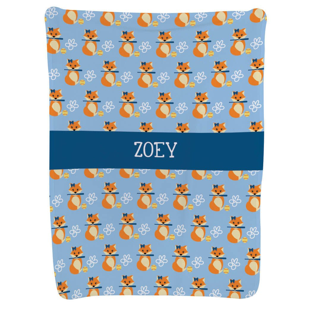 Personalized Softball Baby & Infant Blanket | Foxes with Name| Periwinkle