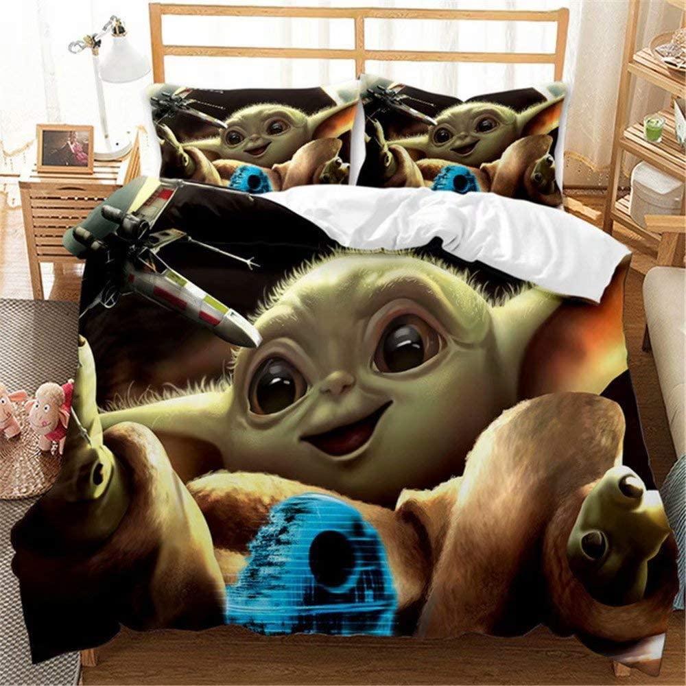 XIANMEI 3D Star Wars Bedding Set King 3 Pieces Yoda Baby Mandalorian Duvet Cover for Adult Kids Boys Girls Super Soft with Ties Zipper Closure 10290