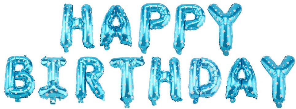 Ponacat Happy Birthday Letter Balloons Party Supplies,Aluminum Foil Inflatable Alphabet Balloons for Party Decor 16in 7 Colors