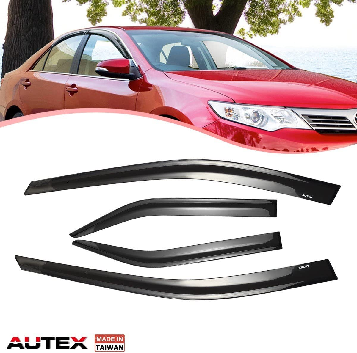 AUTEX Tape On Injection Window Deflectors Compatible with Camry 2012 2013 2014 Window Visor Rain Guards
