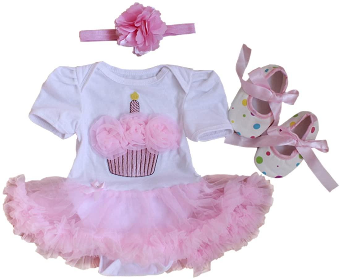 KUCI 3Pcs Infant Baby Girls First Birthday Tutu Dress Birthday Headband Shoes