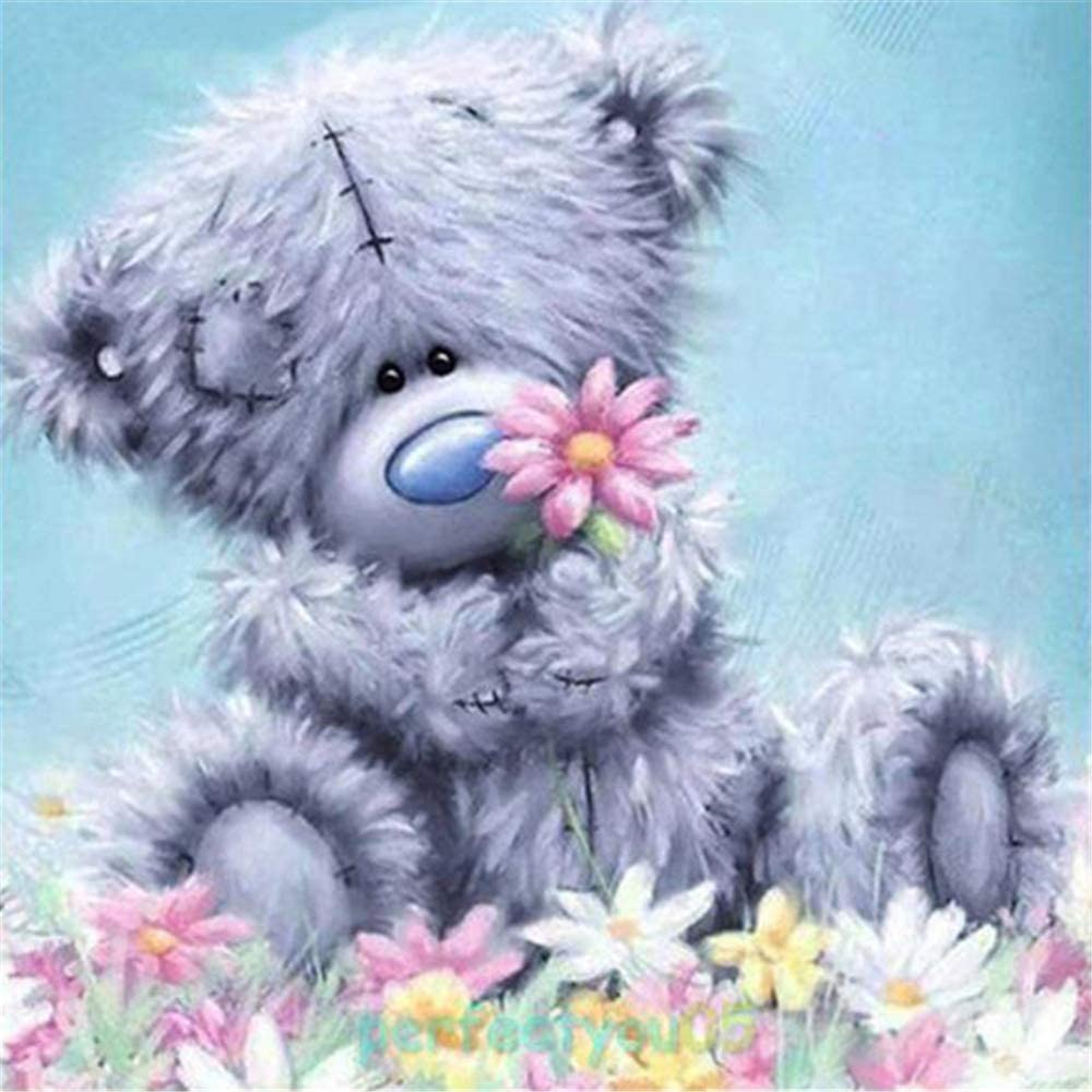 5D Diamond Painting Kit Full Drill Arts Craft Canvas Supply for Home Wall Decor Adults&Kids Doll Bear (11.8inX11.8in)