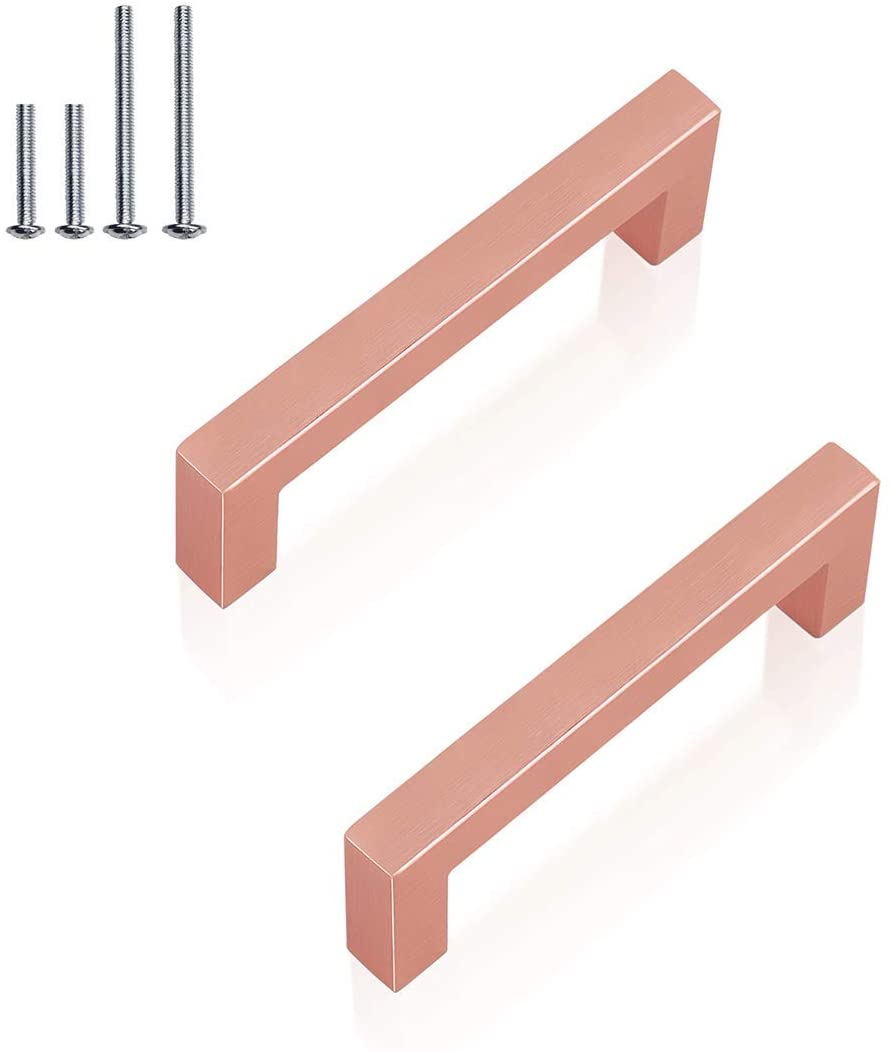 (6 Pack) Square Drawer Handles Rose Gold Cabinet Pulls 3-1/2 Inch,Square Bar Cabinet Handle Dresser Pull Stainless Steel Modern Hardware for Kitchen Bathroom,Diameter:12mm(1/2 Inch),Hole Centers:90mm
