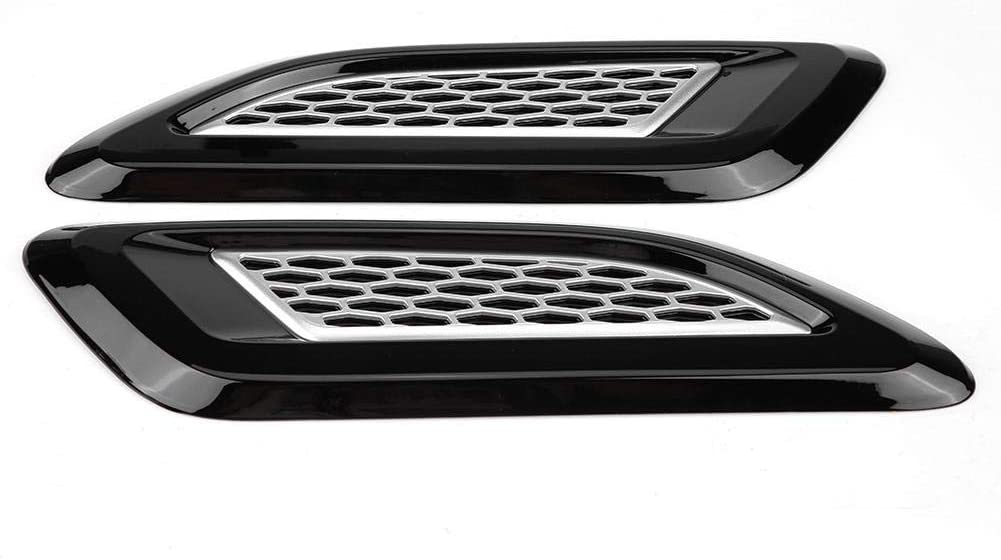 KIMISS Exterior Hood Air Vent Outlet Wing Trim for Land Rover Range Rover Evoque 2012-2018(Black & Silver)