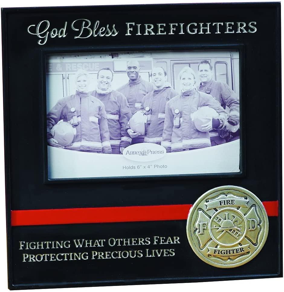 Abbey Gift God Bless Firefighters Frame