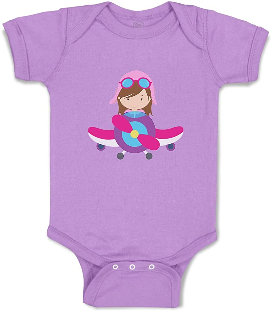 Custom Boy & Girl Baby Bodysuit Pilot Girl Airplane Funny Cotton Baby Clothes
