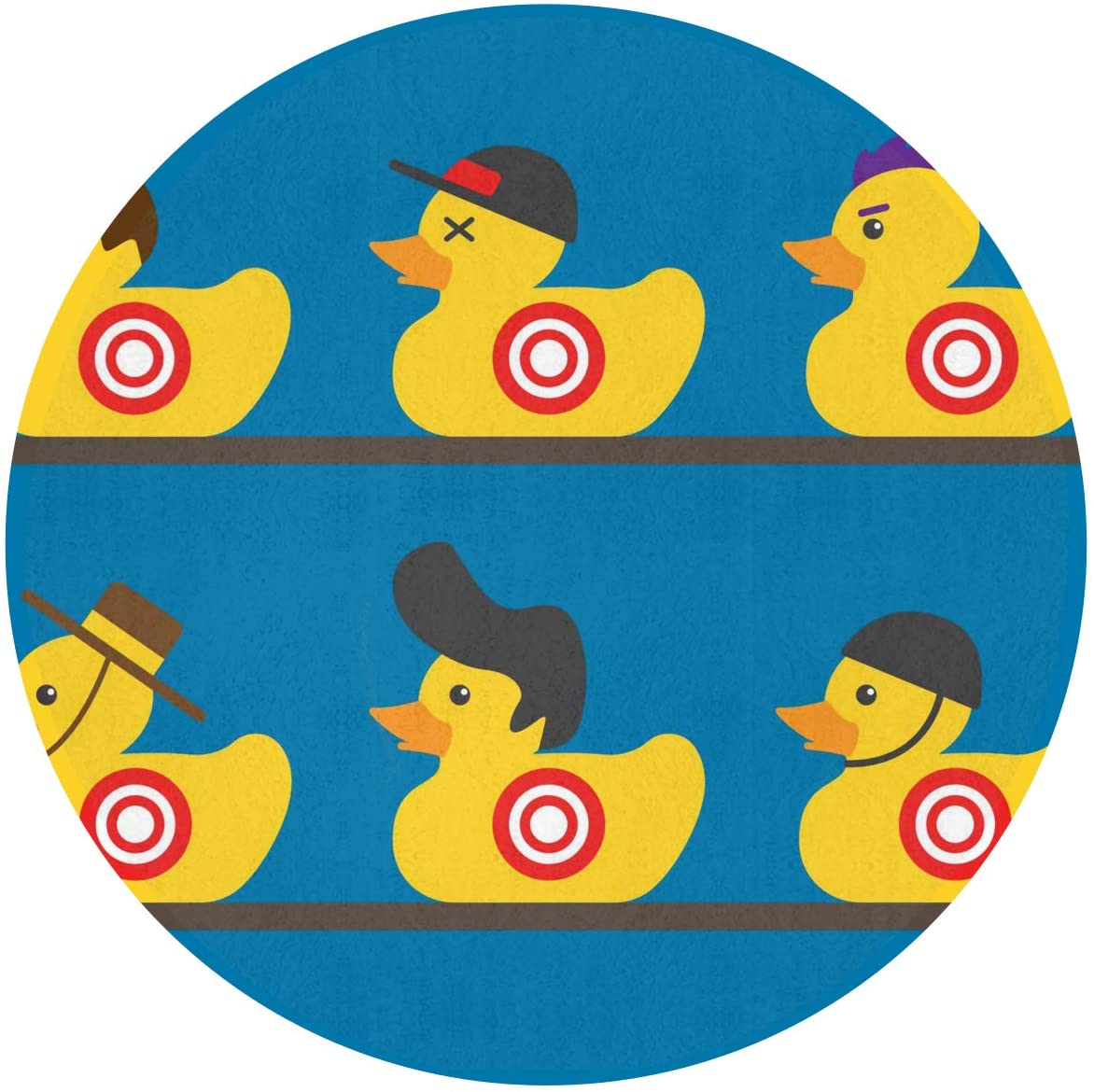 SuperJK Fashion Rubber Yellow Duck Art Area Blanket, Round/Circle Mat Rugs, Soft Flannel Polyester Carpet, Anti-Slip Playmat for Boys & Girls Kids Room/Bedroom Protection & Decor