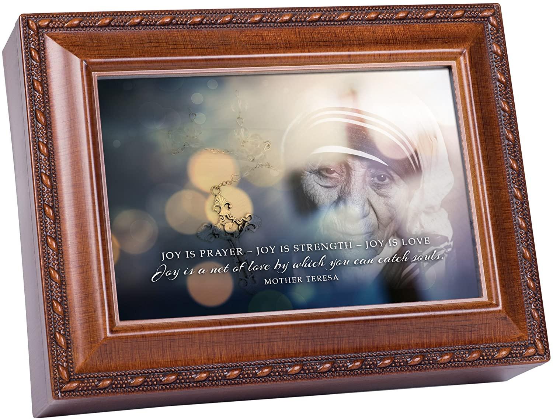 Cottage Garden Joy is Prayer Love Mother Teresa Wood Finish Jewelry Music Box Plays Ave Maria