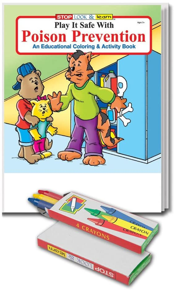 Poison Prevention - Kids Educational Coloring & Activity Book & Crayon Set in Bulk (25 Pack)