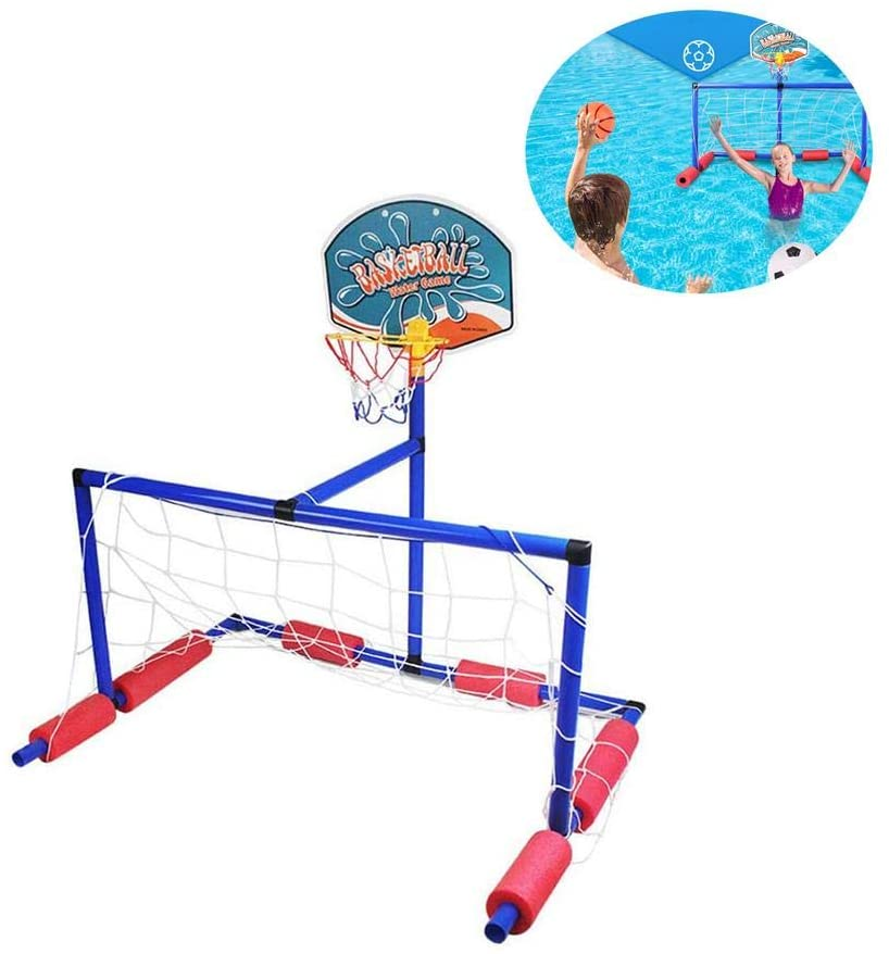 Cheng-store Floating Water Polo Game Set   Must Have Summer Pool Game   Includes Goal and 2 Balls-Football and Basketball