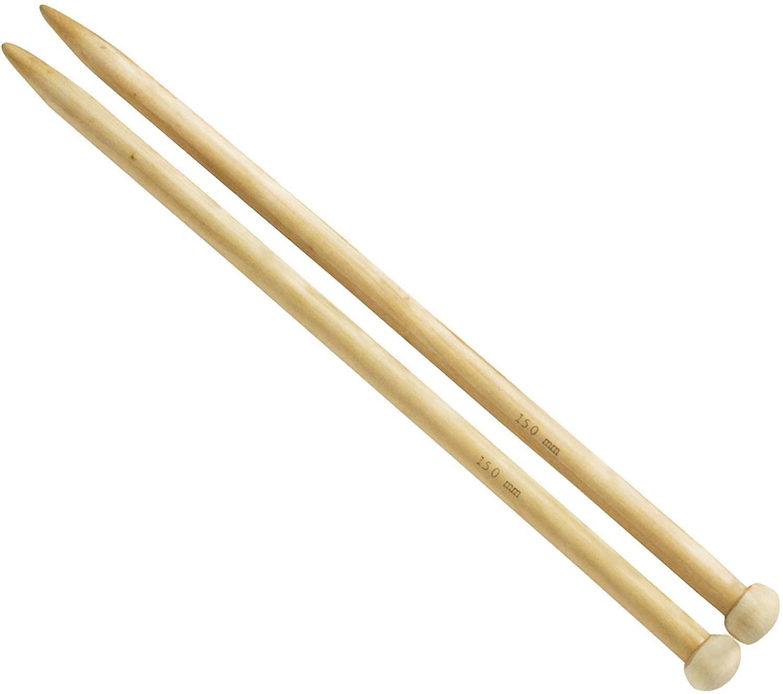 14-inch (35cm) Wooden Big Knitting Needles with Bonus eBook, 1 Pair, Real Oak Wood Jumbo Straight Needles for Chunky Yarn, US Size 19 (15mm)