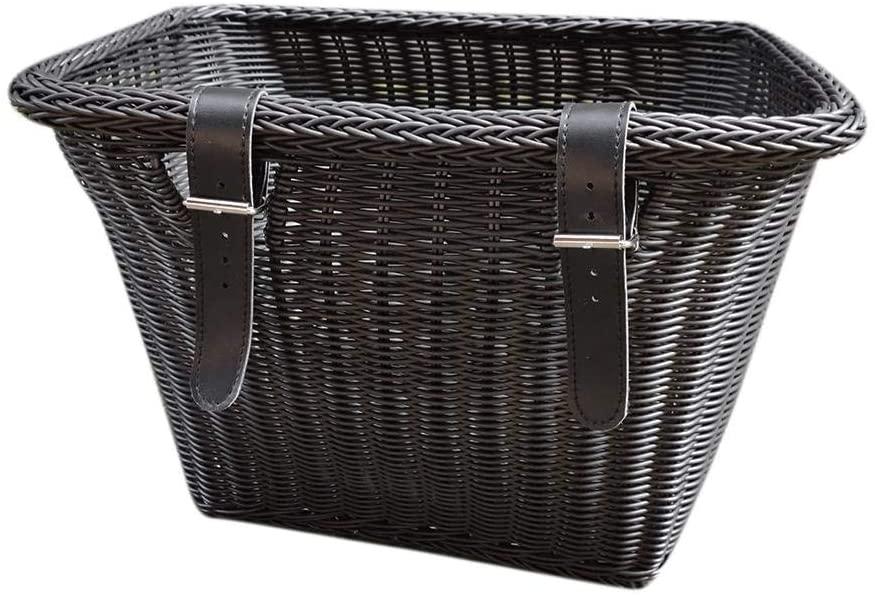 Bike Basket,Front Handle Bar Bike Basket,Water Resistant Wicker Front Handlebar With Leather Straps With Leather Straps
