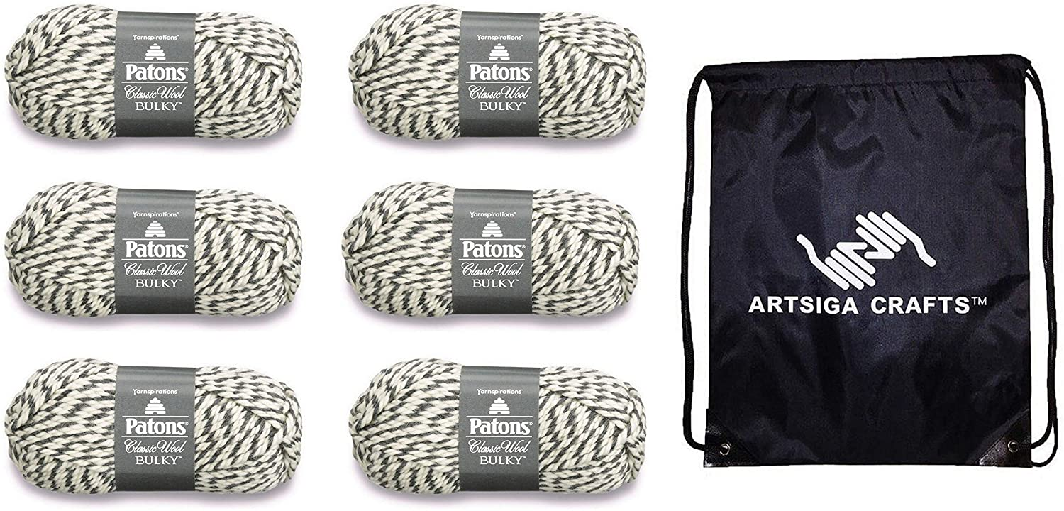 Patons Knitting Yarn Classic Wool Bulky Dark Grey 6-Skein Factory Pack (Same Dye Lot) 241089-89046 Bundle with 1 Artsiga Crafts Project Bag