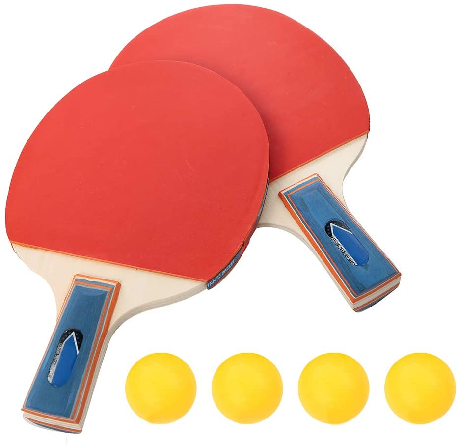 SOONHUA Table Tennis Set, Professional Ping Pong Racket Paddle Set 2 Rackets 4 Balls Long Handle Table Tennis Bats Durable Training Ideal for Kids Adults