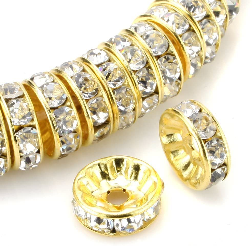200pcs 6mm Top Quality A Rhinestone Rondelle Spacer Beads Austrian Crystal 14K Gold Plated Brass Round Metal Beads CF7-601