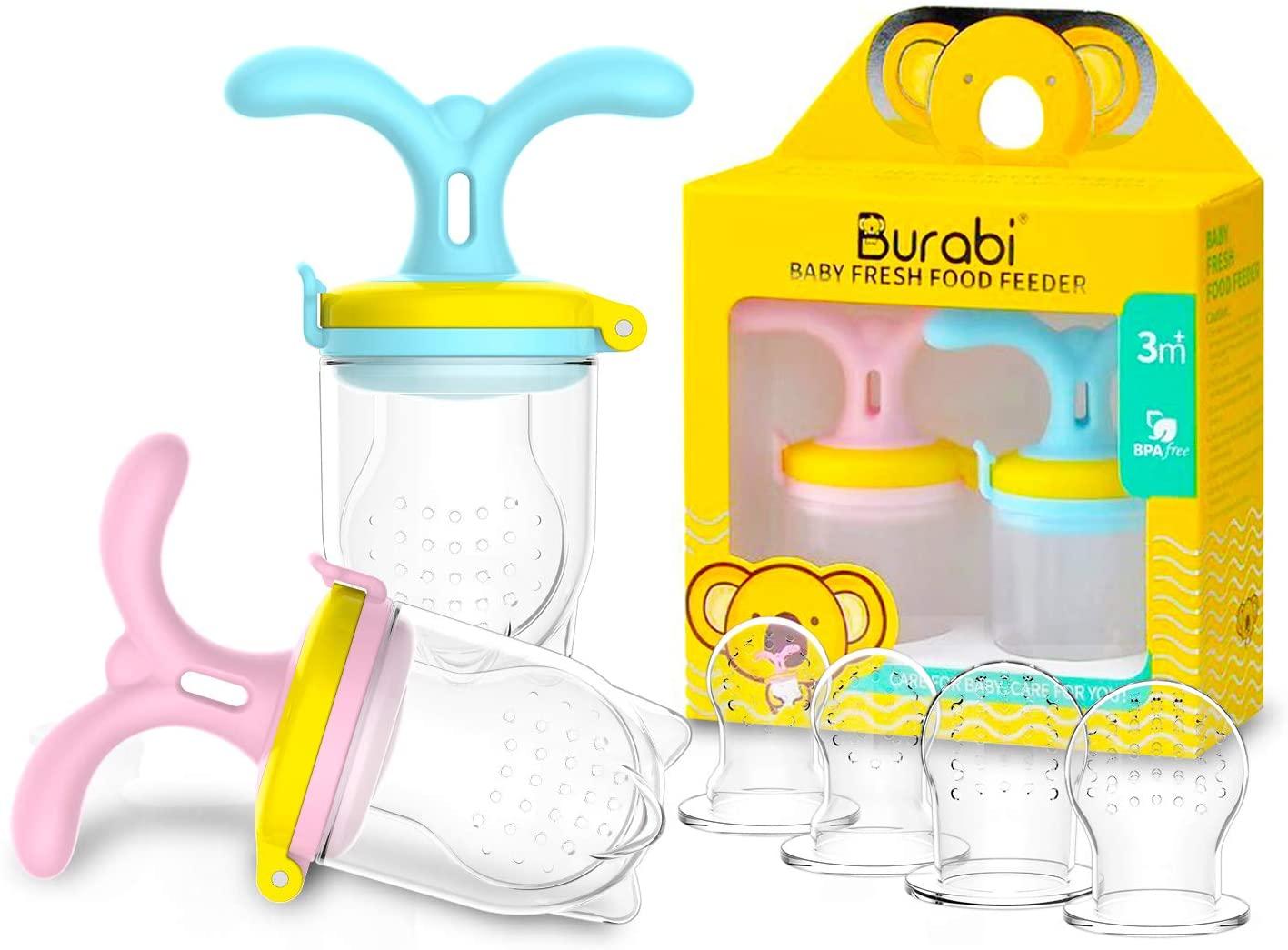 Burabi Baby Food Silicone Feeder, Fresh Fruit Feeding Pacifier, Infant Teething Toy(2 Pack)