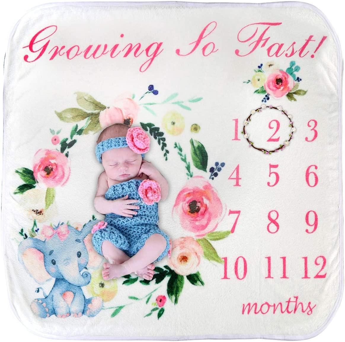 ROSEBEAR Baby Monthly Milestone Blanket, Animal Print Photography Backdrop Blanket Swaddle