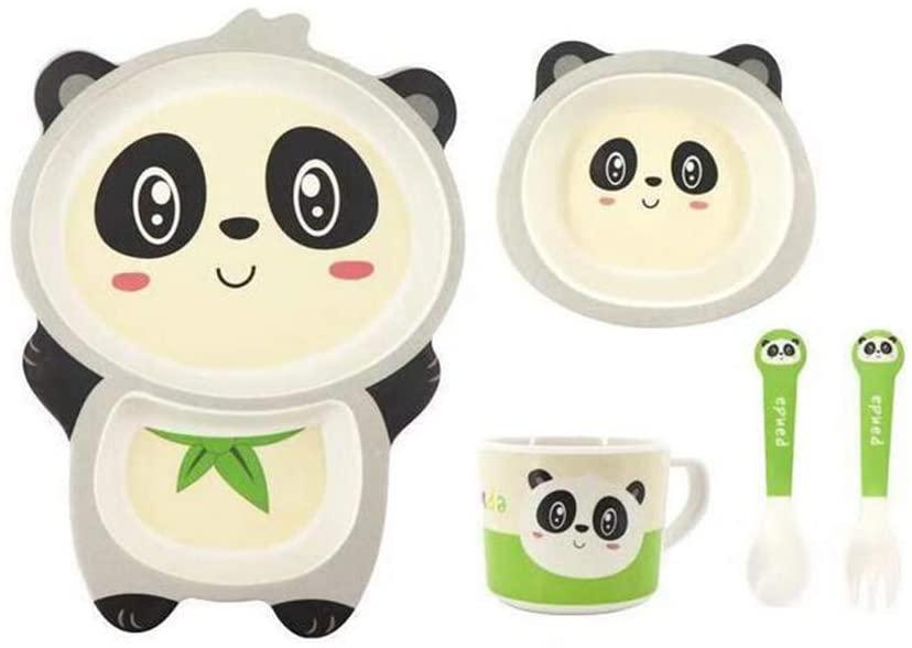Chiatai 5pcs Kids Bamboo Dinner Set, Toddler Children Bowl Fork and Spoon, Cute Cartoon Tableware Set Baby Divied Plate - Panda