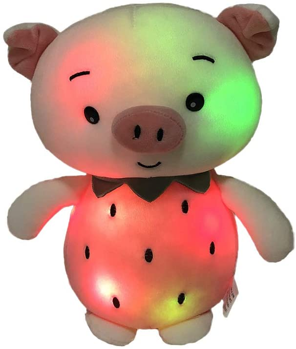 Elfe Boutique 30cm Plush Toy Small Pink Strawberry Piggy Light Up Stuffed Plush Animal Cartoon Piglet with LED Color Changing and Invisible Snap Fasteners