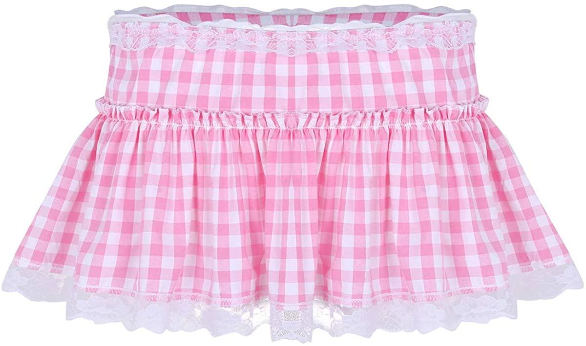 ACSUSS Men's Sissy Ruffled Lace Openwork y Crossdressing Micro Mini Skirt