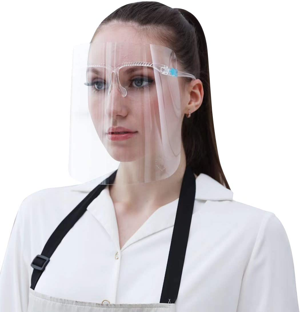 Safety Face Shield, Face Mask assistant 10 PCS Reusable Goggle Shield 2 Glass Face Visor Transparent Anti-Fog Layer Protect Eyes from Splash