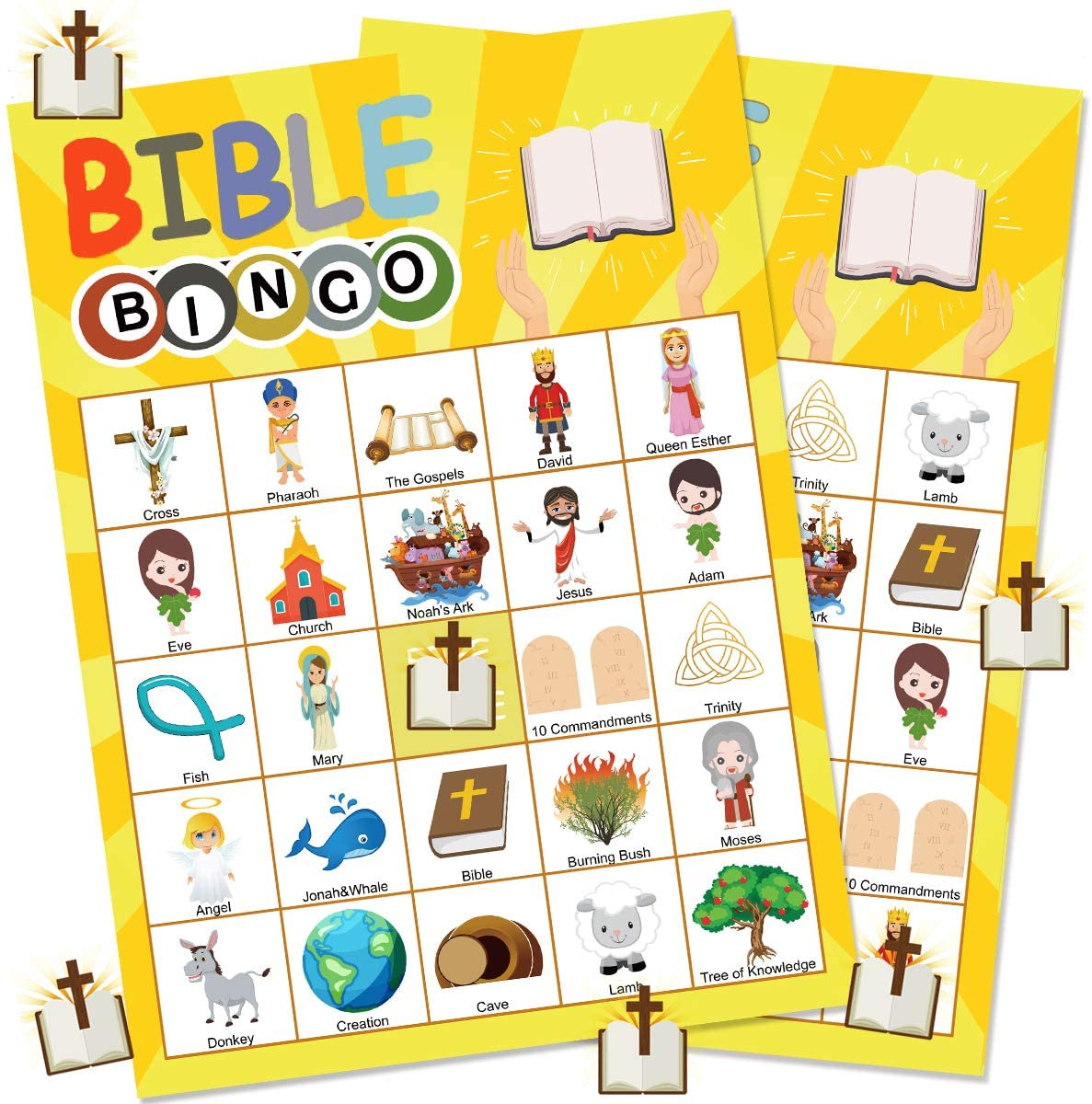 Funnlot Bible Games Bible Activities for Kids 24 Players Bible Bingo Game Pack for Church Family Open Day Sunday School Bible Party Decorations