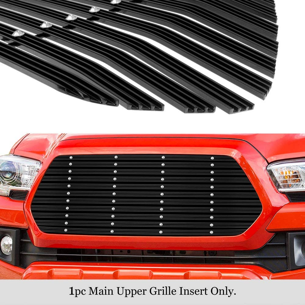 APS Compatible with 2016-2017 Tacoma Main Upper Aluminum Black Wide 20mm Horizontal Channel with Rivet Studs Billet Grille Insert Self Assemble T86358W