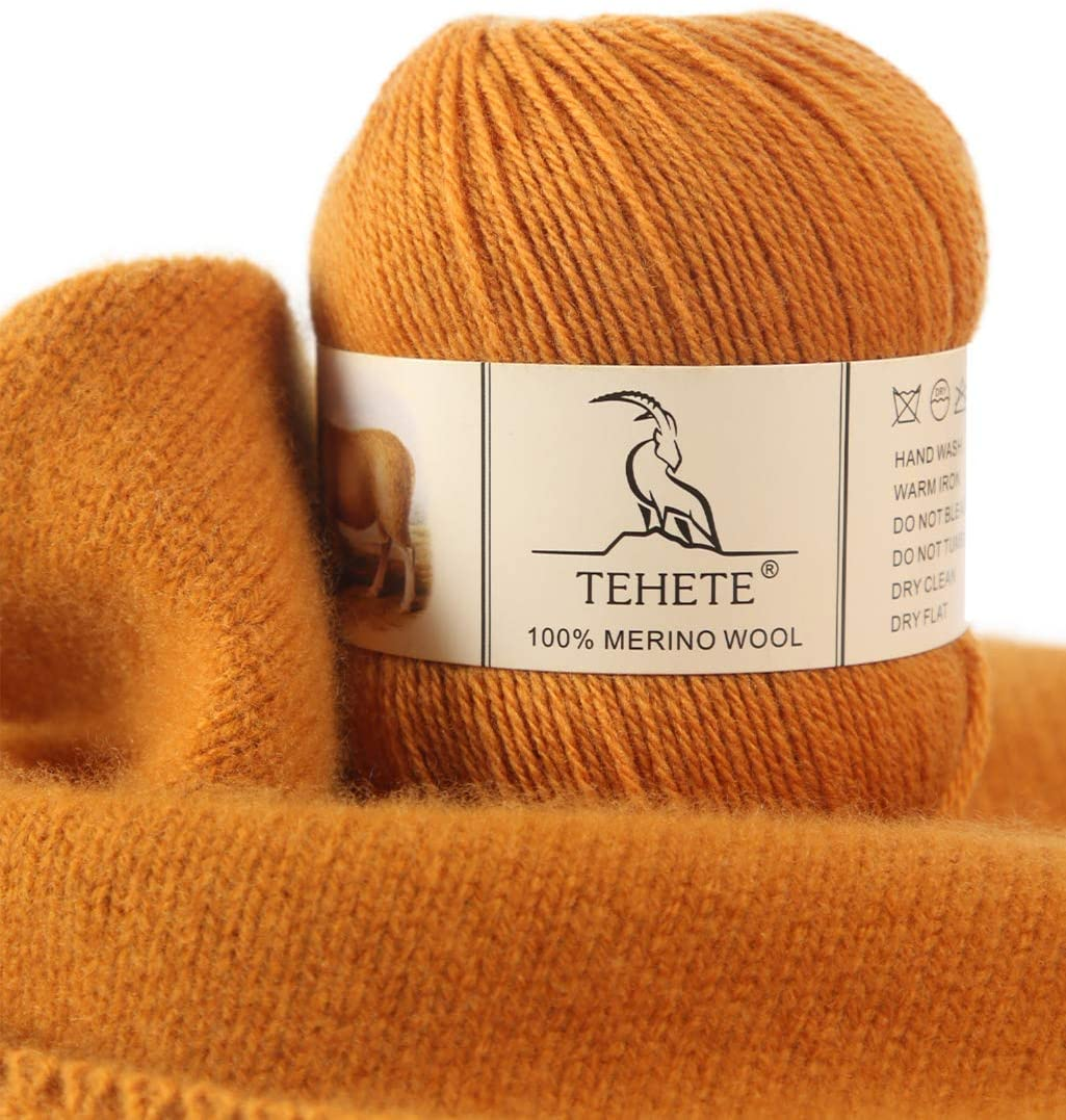 TEHETE 100% Merino Wool Yarn for Knitting 3-Ply Luxury Warm Soft Lightweight Crochet Yarn (Ginger)