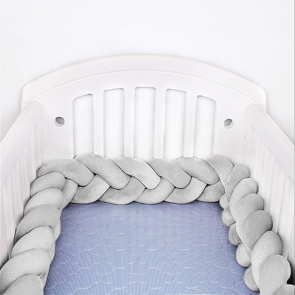 Hbitsae 79 Baby Crib Bumper, Knotted Braided Bumper for Crib, Gift Pillow Cushion Nursery Cradle Decor Sleep Bumper(2Meter, 79,Gray)